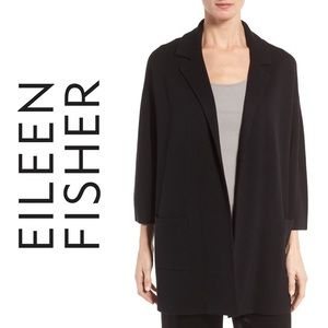 EILEEN FISHER Black Silk Boxy Blazer Sz XS